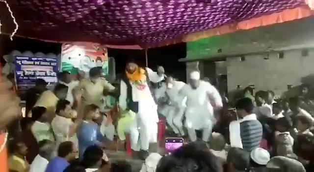 BJP leader falls down